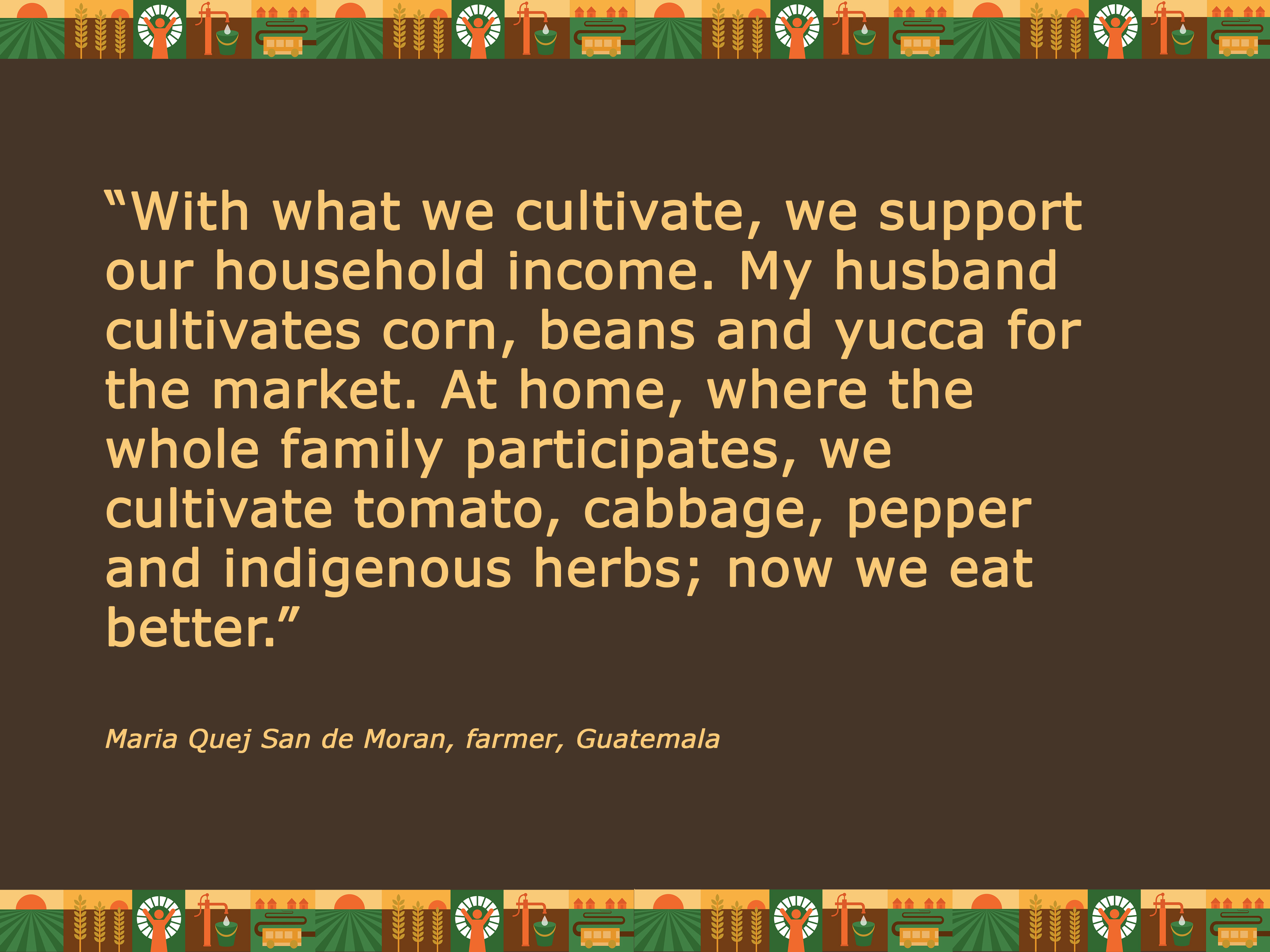 """Quot""""With what we cultivate, we support our household income. My husband cultivates corn, beans and yucca for the market. At home, where the whole family participates, we cultivate tomato, cabbage, pepper and indigenous herbs; now we eat better."""" Maria Qu"""