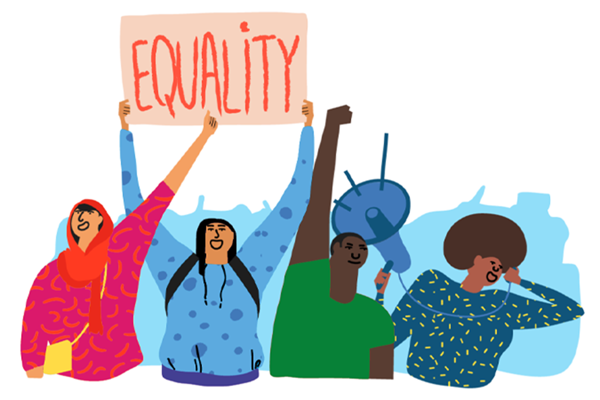 """A group of people carry a bullhorn and a sign that reads """"Equality"""""""