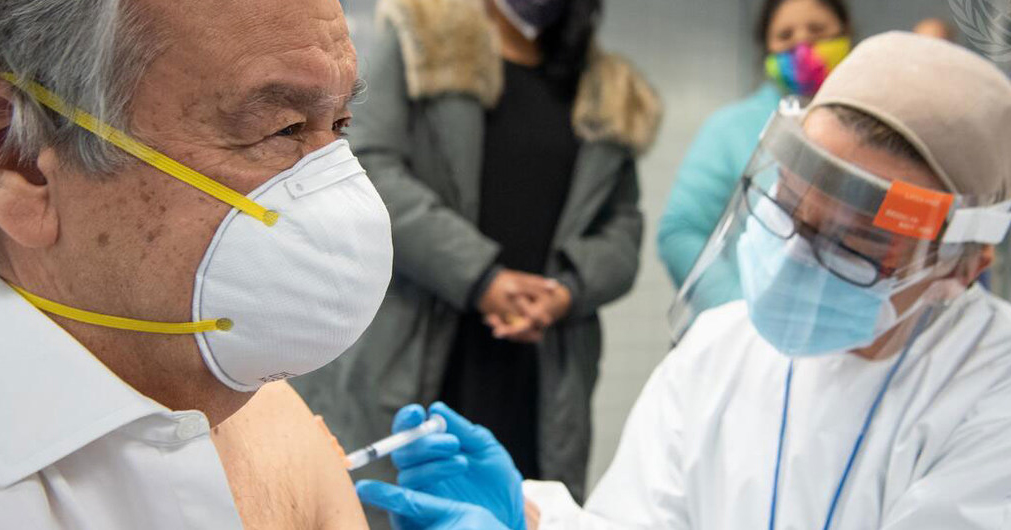 UN Secretary-General António Guterres receives his COVID-19 vaccination