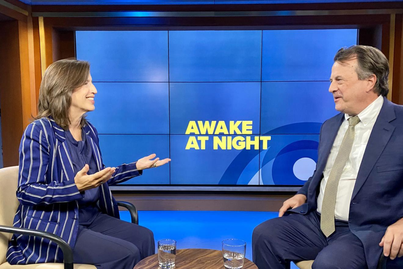 Melissa Fleming and David Gressly in the recording studio of Awake at Night