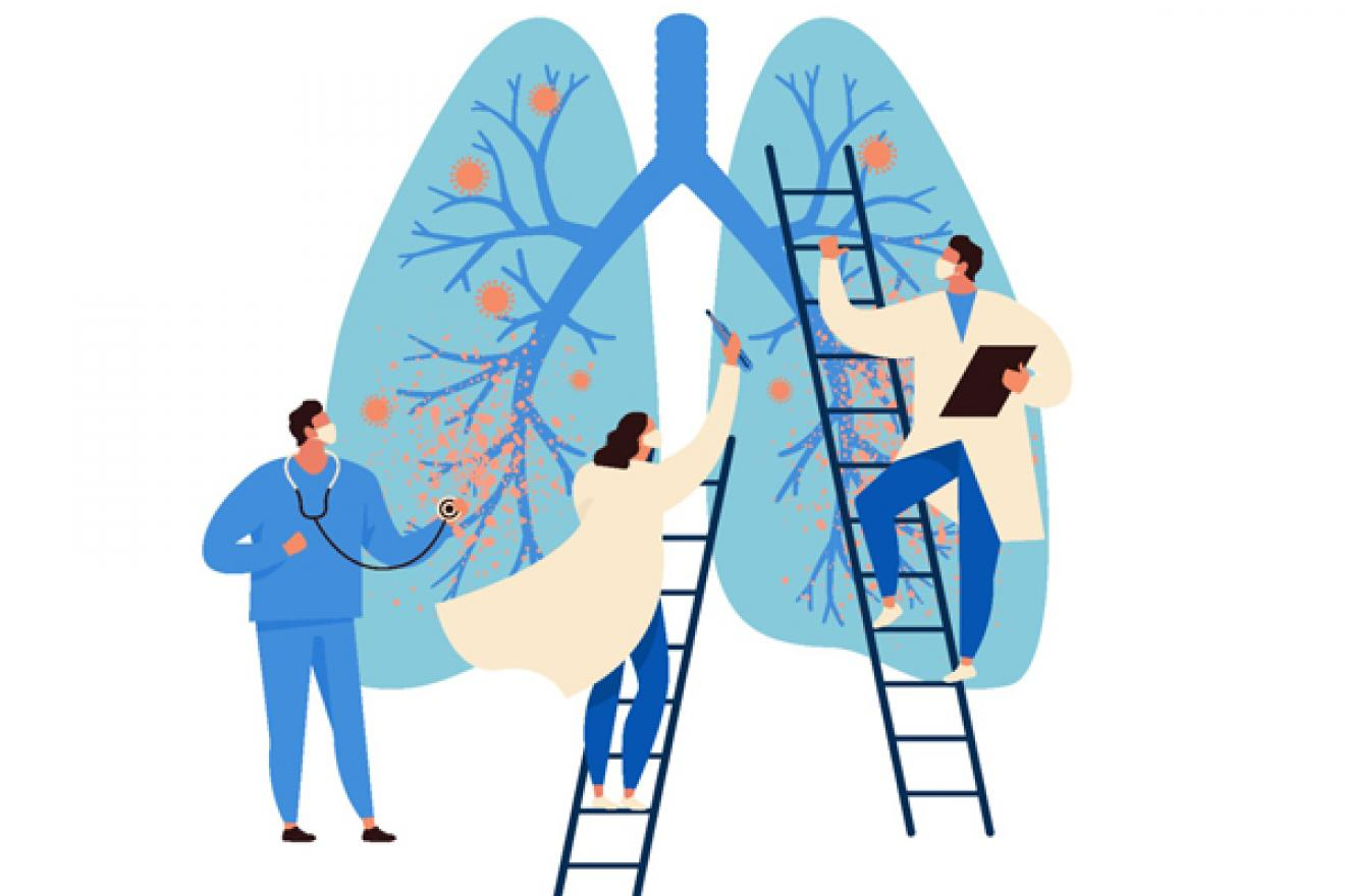 Illustration of three human figures working on infected lungs.