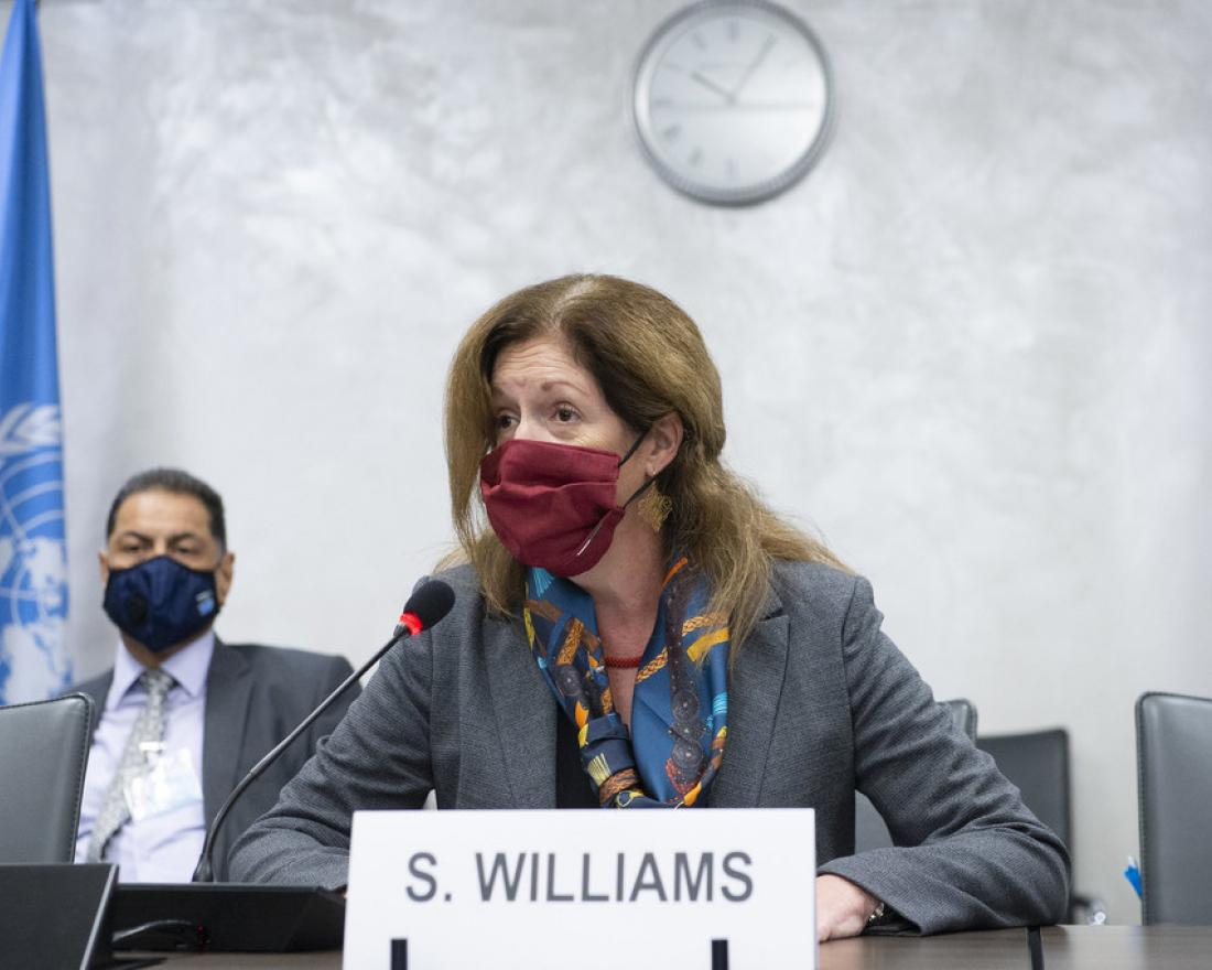 Acting Special Representative of the Secretary-General Stephanie Williams hosts the fourth round of the 5+5 Libyan Joint Military Commission, Palais des Nations. 19 October 2020.