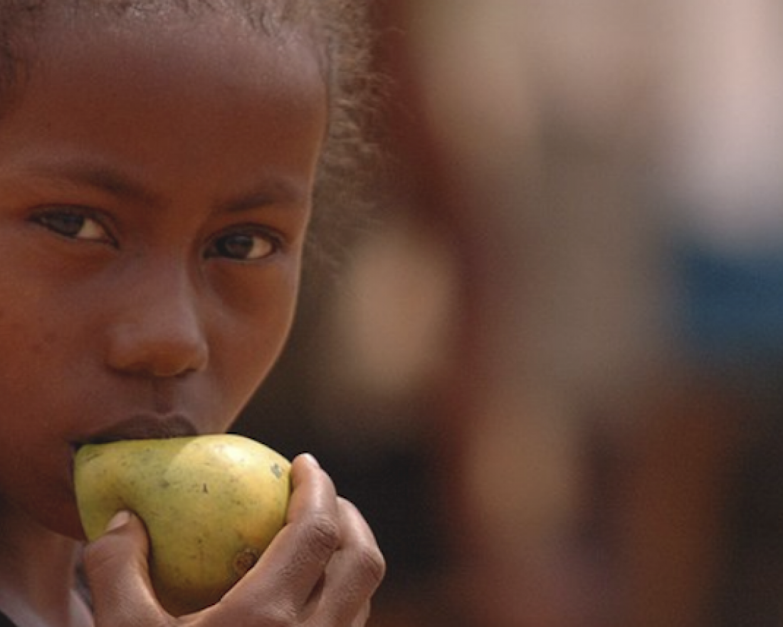 Press release cover image of young girl eating a pear