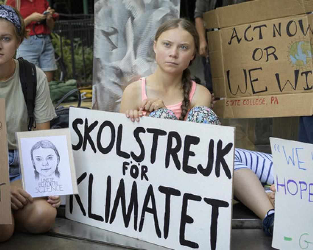 Greta Thunberg (centre), joins a climate demonstration (file)
