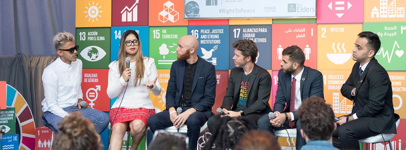 A discussion at the SDG Media Zone, set up for the week of the General Assembly's annual general debate.