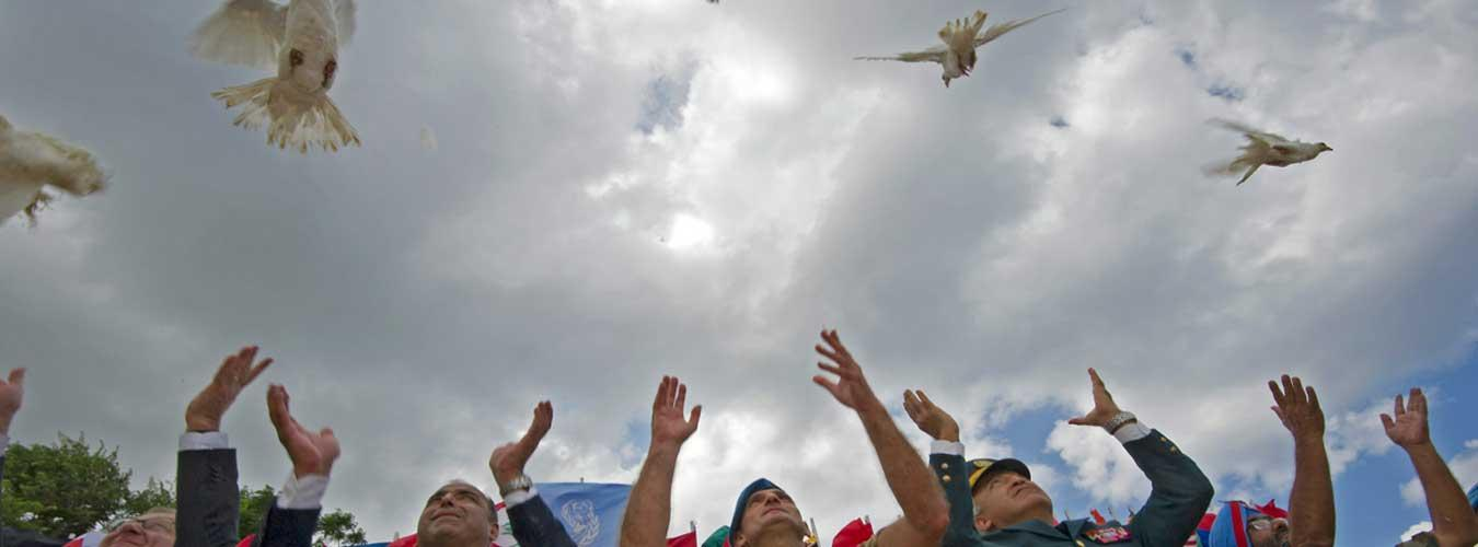 The United Nations Interim Force In Lebanon (UNIFIL) commemorates the International Day of Peace by releasing doves, a symbol of peace.