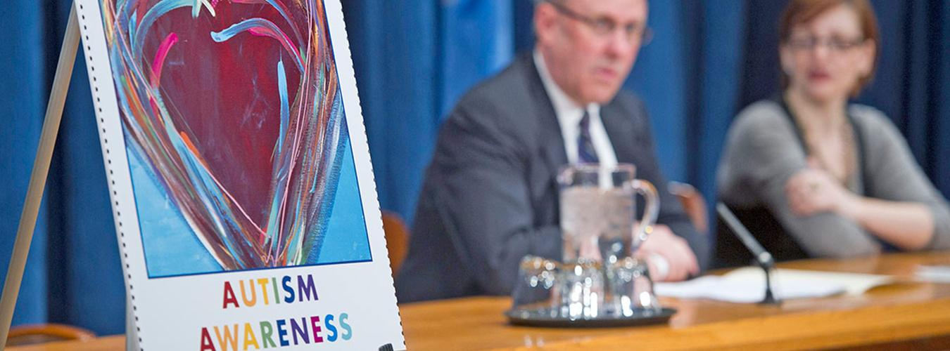 Photo of press conference in 2012 on UN stamps issued to commemorate World Autism Day.