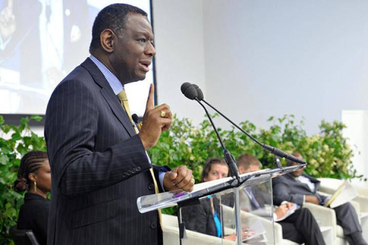 Babatunde Osotimehin, Executive Director of the United Nations Population Fund (UNFPA), at left, addressing audience with others panel members seated to the right.