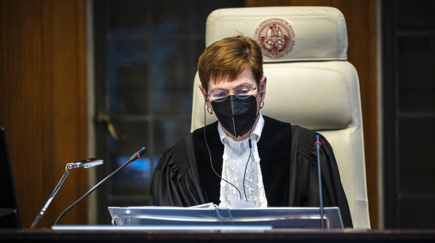 Judge Joan E. Donoghue, President of the International Court of Justice (ICJ), presiding at public hearings held on 15 March 2021.