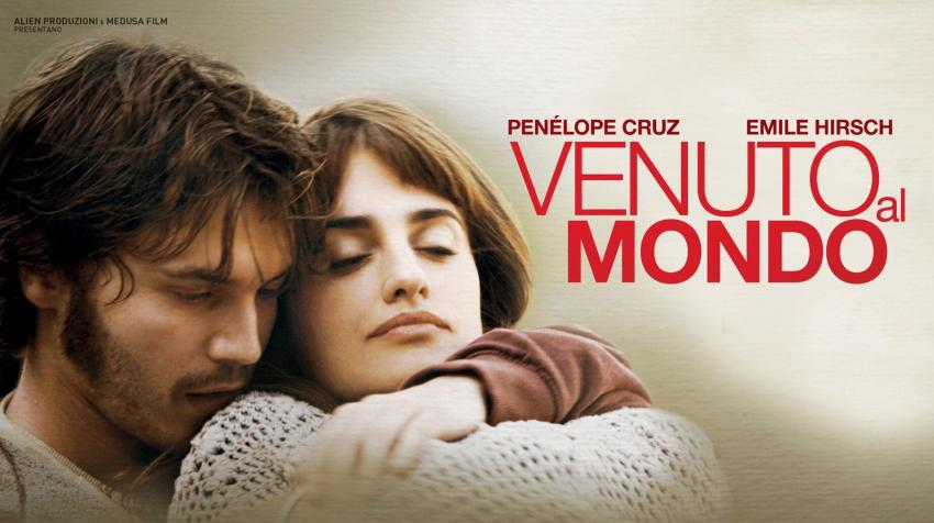 "A man and a woman who seems like romantic partners are on the left side of the picture, with the movie title, ""Venuto al Mondo"" to the right."