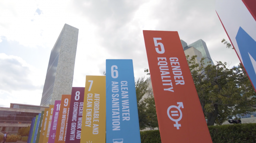 UN Headquarters building is seen during the 2019 SDG Action Zone