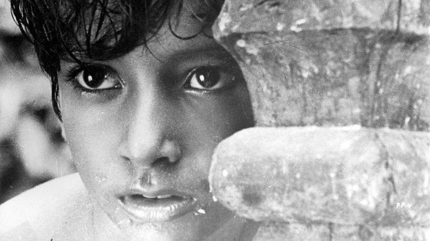 "Still shot of actor Subir Banerjee from the film ""Pather Panchali"" (1955) by Satyajit Ray. Wikimedia Commons (CC BY 3.0)"