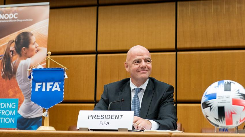 Mr. Gianni Infantino, President, Fédération Internationale de Football Association (FIFA), 14 September 2020. ©UNIS Vienna/Nikoleta Haffar (CC BY 2.0) United Nations Office on Drugs and Crime (UNODC).