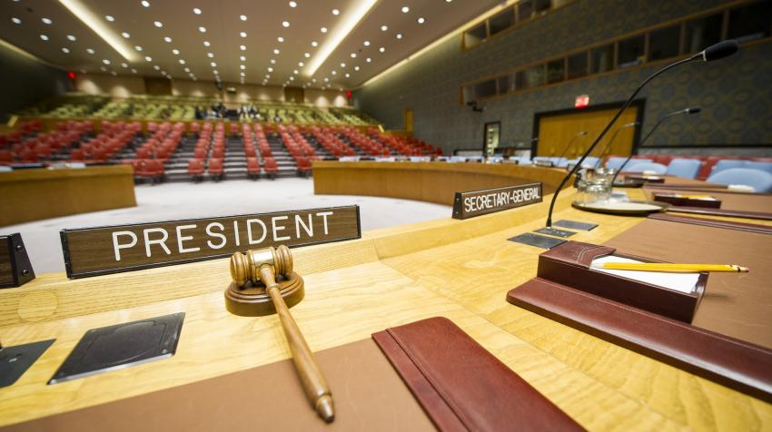 The Security Council Chamber from the vantage point of the President of the Council (Photo: UN Photo / Rick Bajornas)