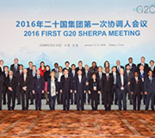 G20 Jan 2016 group photo cropped|Press Conference on the launch of the World's Women Report.|G20 Jan 2016 group photo