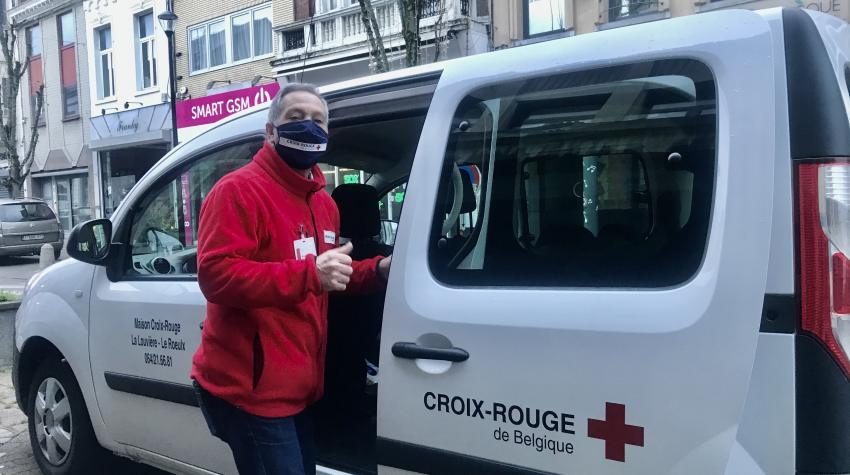 Amédéo Miceli, President of the Red Cross Centre in La Louvière, Belgium, returns to the Red Cross Centre after collecting soup and delivering it to a distribution point. Photo courtesy MCR La Louvière