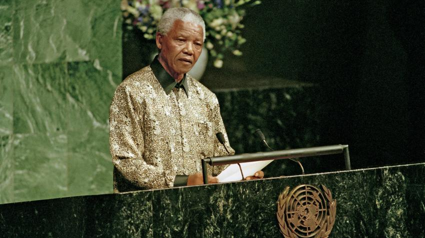 Nelson Mandela, President of the Republic of South Africa, addressing the fifty-third session of the General Assembly. 21 September 1998. United Nations, New York. UN Photo/Greg Kinch