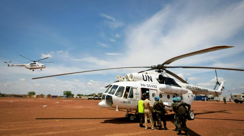 Helicopters carrying Indian Battalion troops are arriving in Abyei, the main town of the disputed Abyei area on the border of Sudan and newly independent South Sudan.