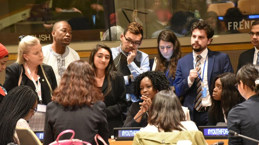 """Scene from 2019 Economic and Social Council Youth Forum. The theme of this year's Forum is """"Youth: Empowered, included and equal"""". April 2019, New York."""