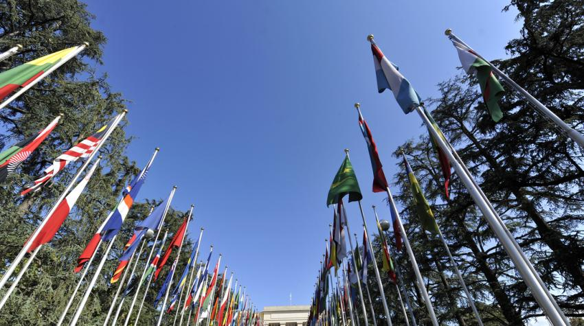 An upwards view of flag poles beneath the sky extending to the Palais des nations