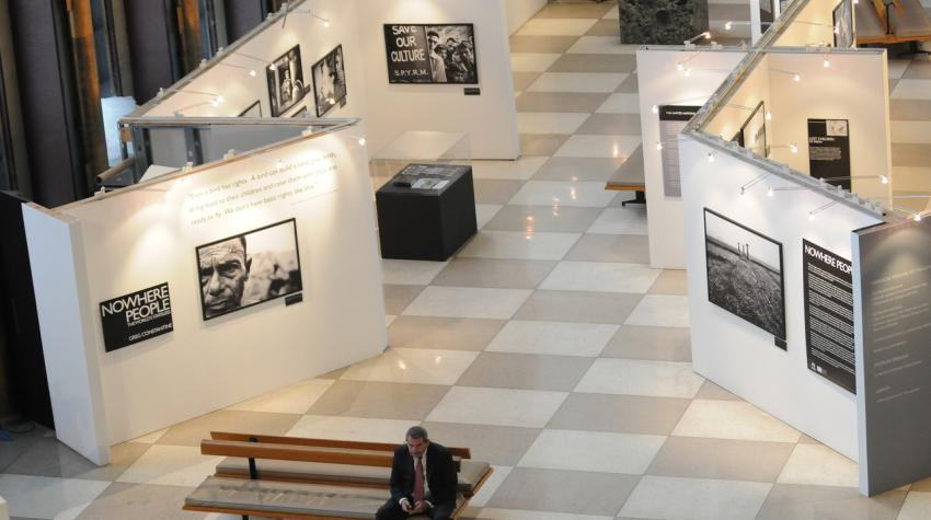 Bird's eye view of the Visitors' Lobby showing exhibition walls on both sides of the hallway.