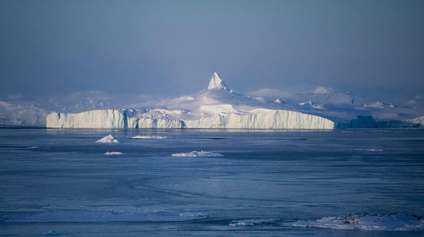 A view of the landscape near Uummannaq, Greenland, and the fastest moving glacier on the planet.