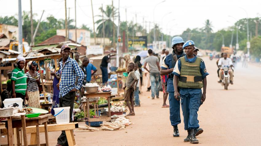 Peacekeeprs are patroling the a Muslim enclave in the capital city of Bangui in the Central African Republic.
