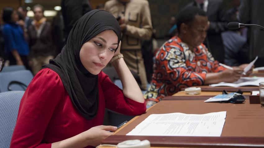 Dr. Alaa Murabit of the non-governmental organization Voice of Libyan Women during an all-day open debate in the United Nations Security Council on women, peace and security. United Nations, New York. 13 October 2015.