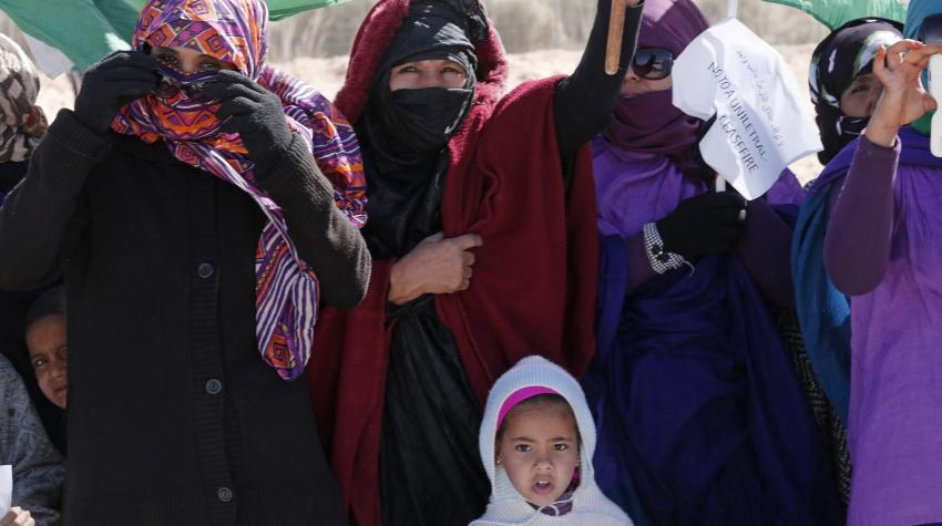 Zoomed in view of female refugees residing in Algeria.