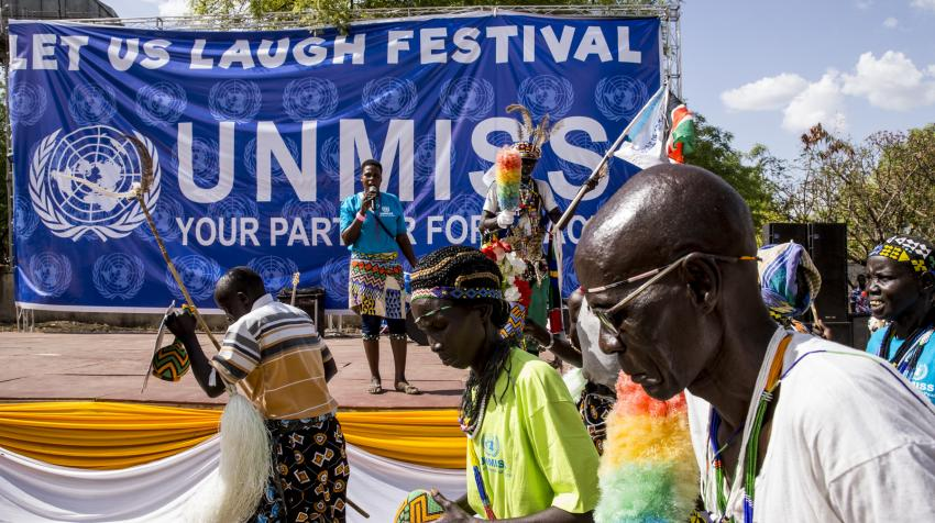 Local Sudanese people dance at the Let Us Laugh Festival in Juba.