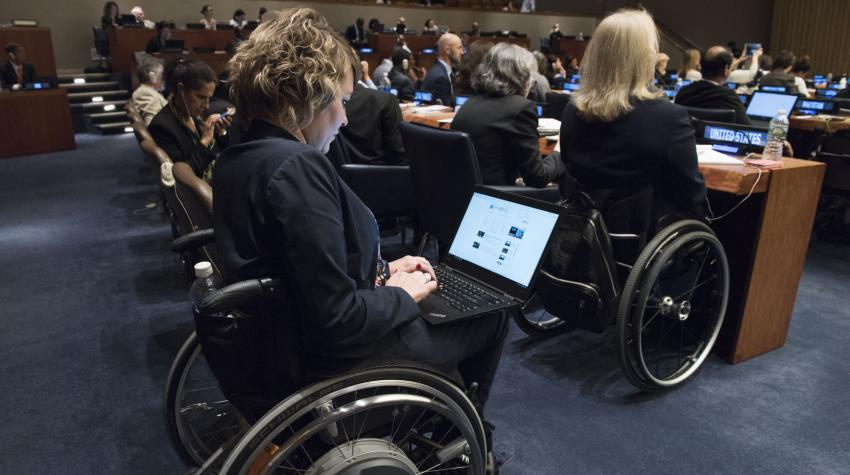 A round-table meeting taking place during the tenth session of the Conference of States Parties to the Convention on the Rights of Persons with Disabilities. United Nations Headquarters, New York, 14 June 2017. UN Photo/Kim Haughton.