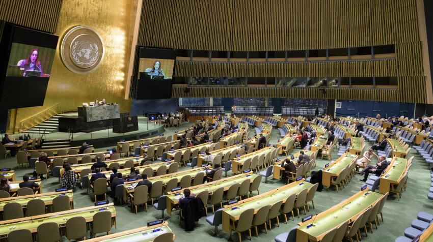 The President of the seventy-third session of the General Assembly, María Fernanda Espinosa Garcés, chairs the Assembly meeting on the impact of rapid technological change on the achievement of the Sustainable Development Goals (SDGs).18 October 2018.