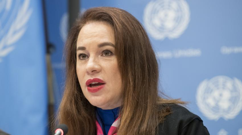 María Fernanda Espinosa, President of the 73rd session of the General Assembly, briefs the press on the high-level event on 'Women in Power'. United Nations, New York, 12 March 2019. UN Photo/Mark Garten