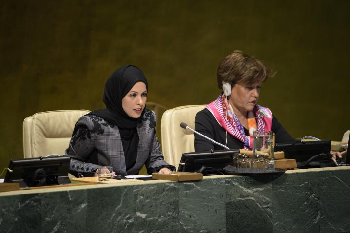 H.E. Alya Ahmed Saif Al-Thani, Vice-President of the seventy-third session of the General Assembly and Permanent Representative of Qatar to the United Nations (left) addresses the Assembly on 2 April 2019. UN Photo/Loey Felipe