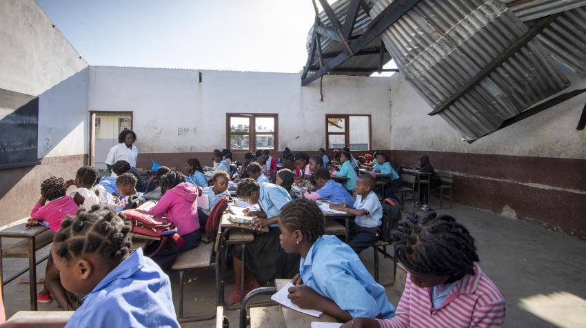 "A view of one of the classrooms with a partial roof at the ""25 de Junho"" School, located in Beira, Mozambique, an area where cyclones Idai and Kenneth hit just a few weeks apart in March and April 2019. Taken 8 July 2019."