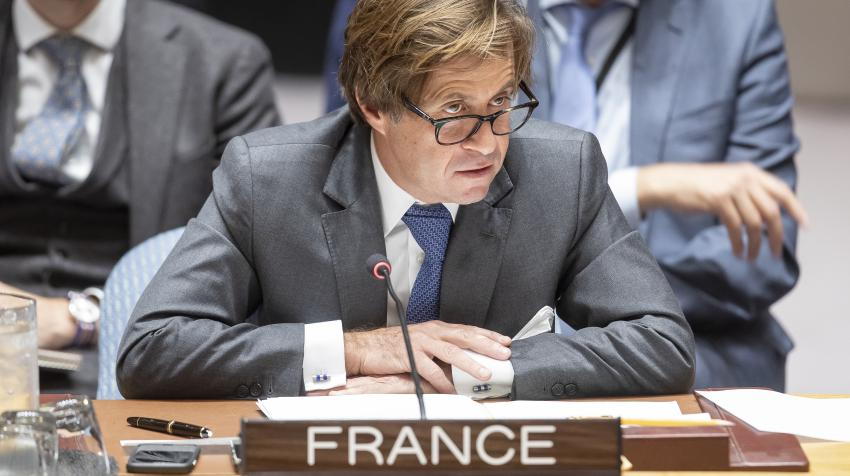 Nicolas de Rivière, Permanent Representative of France to the United Nations, addresses the Security Council meeting on the situation in the Great Lakes region. New York, 3 October 2019. UN Photo/Laura Jarriel