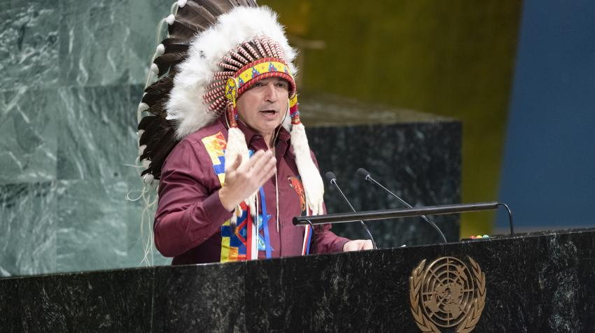 National Chief Perry Bellegarde of the Assembly of First Nations, Canada, addresses the High-level event of the General Assembly on the conclusion of the International Year of Indigenous Languages (2019), 17 December 2019. UN Photo/Rick Bajornas