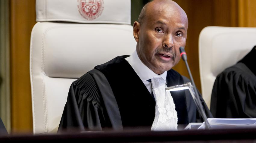Judge Abdulqawi Ahmed Yusuf, President of the International Court of Justice, speaks on the first day of a hearing before the Court. 10 December 2019, The Hague, Netherlands. UN Photo/ICJ-CIJ/Frank van Beek