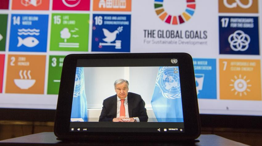 "Secretary-General António Guterres speaks at the informal virtual meeting of the 2020 ECOSOC Forum on Financing for Development follow-up: ""Financing Sustainable Development in the Context of COVID-19"". 23 April 2020. ©UN Photo/Eskinder Debebe"