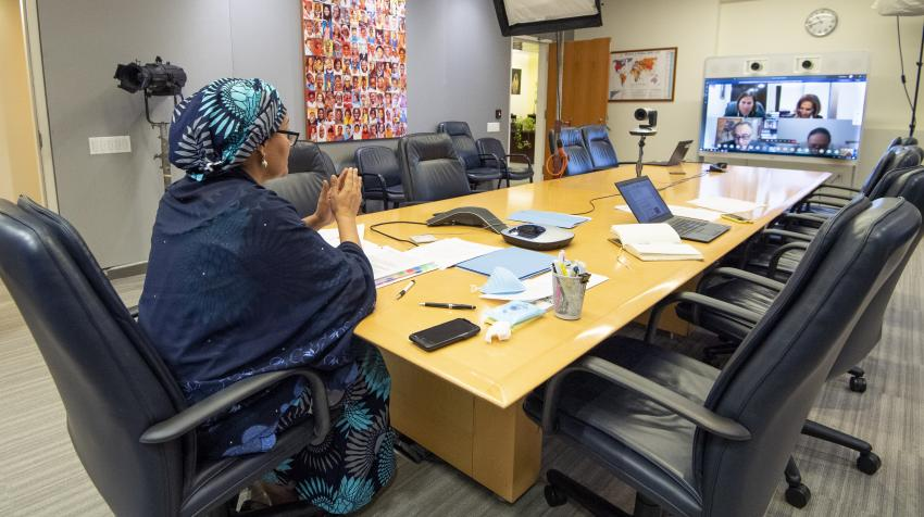 Deputy Secretary-General Amina Mohammed holds a virtual briefing with the Group of Small Island Developing States (SIDS) on the COVID-19 response. United Nations, New York, 30 April 2020. UN Photo/Eskinder Debebe