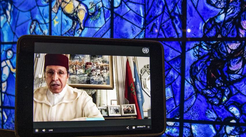 "Omar Hilale, Permanent Representative of the Kingdom of Morocco to the United Nations, addresses the High-level Video Conference on ""The Role of Religious Leaders in Addressing the Multiple Challenges of COVID-19"",12 May 2020. UN Photo/Eskinder Debebe"