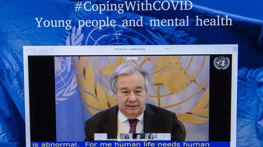 "United Nations Secretary-General António Guterres speaking during the webinar series on young people and mental health titled ""Coping with COVID"" organized by the Secretary-General's Envoy on Youth. 15 July 2020. UN Photo/Eskinder Debebe"