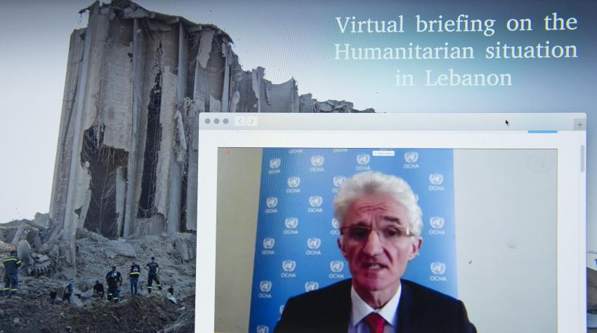 Mark Lowcock, Under-Secretary-General for Humanitarian Affairs and Emergency Relief Coordinator, chairs a virtual briefing on the Humanitarian Situation in Lebanon. 10 August 2020. United Nations, New York. UN Photo/Eskinder Debebe