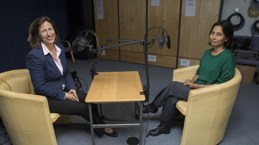 Melissa Fleming, head of UNHCR's Global Communications Service and Spokesperson for the High Commissioner, interviews Monique Sokhan, UNHCR's Assistant Representative for Protection in Lebanon, for the second season of Awake at Night.