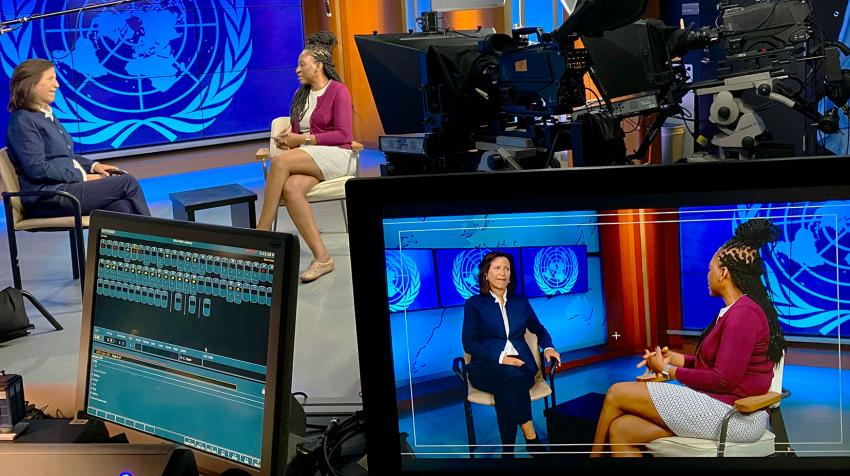 Photo of Melissa Fleming interviewing Funmi Balogun in the UNHQ studios