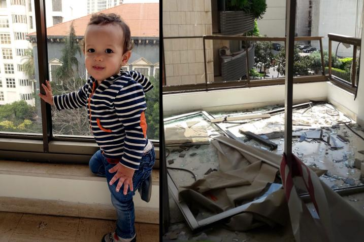 On the left is a photo of Issac playful and happy. On the right is of a child's high chair amidst shattered rubble, stained with blood.
