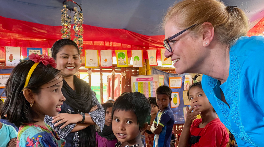 Anne-Marie Grey, Executive Director and CEO of USA for UNHCR, meets with young Rohingya refugees in Cox's Bazar, Bangladesh. ©USA for UNHCR/Nicholas Feeney