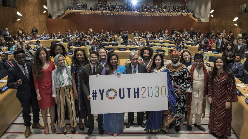 Secretary-General António Guterres launched Youth 2030, the United Nations Youth Strategy, at a high-level Event held at United Nations Headquarters in New York, 24 September 2018. Photo Credit: Mark Garten/UN Photo ​