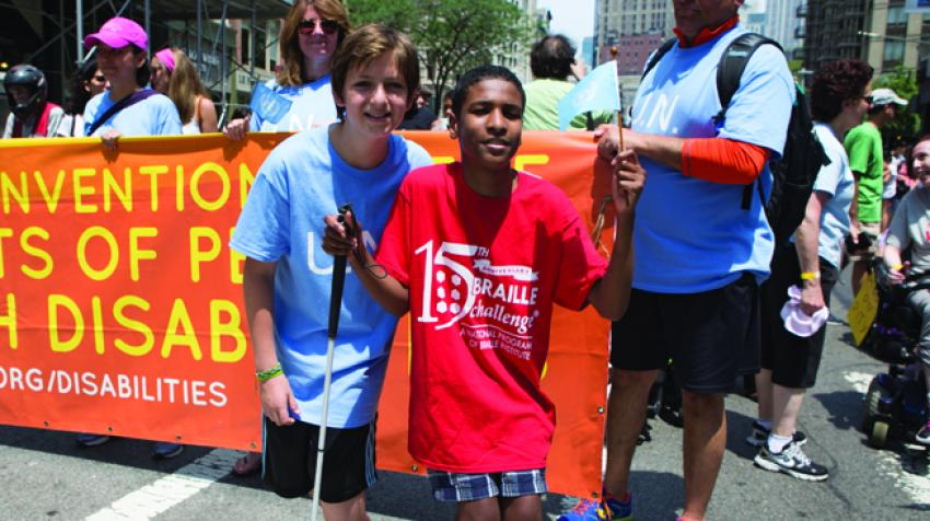 New York City held its first Disability Pride parade on 12 July 2015, marking the 25th anniversary of the Americans with Disabilities Act, signed into law on 26 July 1990. © UN Photo/Devra Berkowitz