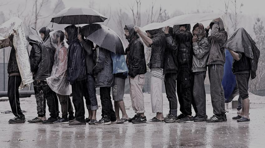 A group of men from Asia stranded in Bosnia and Herzegovina wait for assistance from the International Organization for Migration (IOM). © IOM 2020